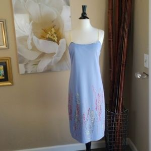 BCBG ~ Baby Blue Slip Dress with Floral Detail ~ M